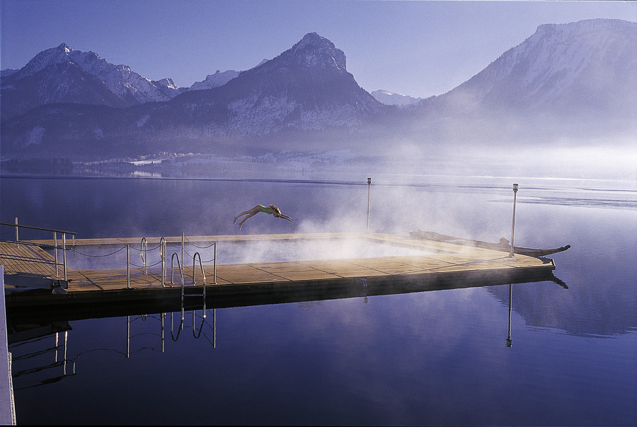 The pool in Wolfgangsee in Austria